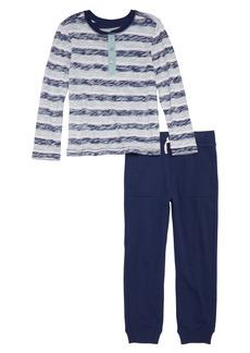 Splendid Reverse Stripe Shirt & Sweatpants Set (Toddler Boys & Little Boys)