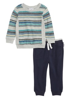 Splendid Reverse Stripe Sweatshirt & Sweatpants Set (Baby)
