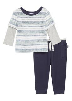Splendid Reverse Stripe T-Shirt & Jogger Pants Set (Baby)