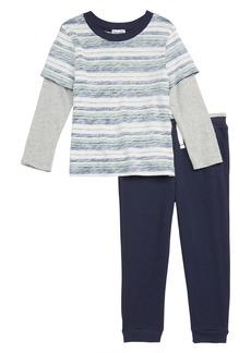 Splendid Reverse Stripe T-Shirt & Jogger Pants Set (Toddler Boys & Little Boys)