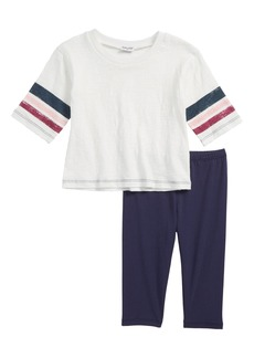 Splendid Roller Stripe Tee & Leggings Set (Toddler Girls & Little Girls)