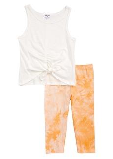 Splendid Ruched Tank & Tie Dye Leggings Set (Toddler Girls & Little Girls)