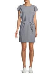 Splendid Ruffle-Sleeve Striped Mini Dress