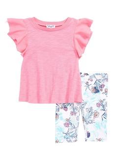 Splendid Ruffle Sleeve Tee & Floral Leggings Set (Baby Girls)