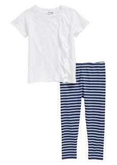Splendid Ruffle Top & Stripe Leggings Set (Toddler Girls & Little Girls)
