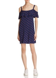 Splendid Ruffled Polka Dot Cold Shoulder Dress