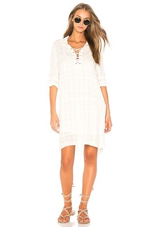 Splendid Sandbar Stripe Lace Up Dress in Ivory. - size M (also in S,XS)
