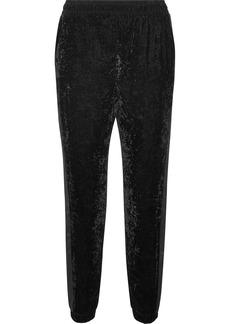Satin-trimmed velvet track pants