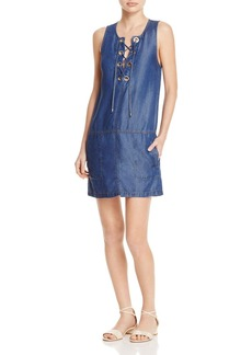 Splendid Sleeveless Chambray Lace-Up Dress