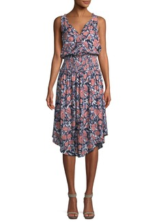 Splendid Sleeveless Floral Smocked-Waist Midi Dress