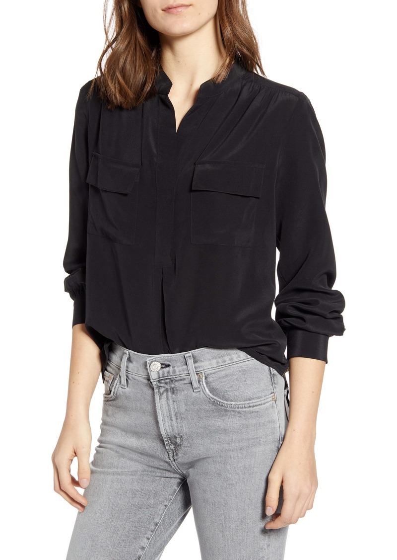 Splendid Split Neck Silk Shirt