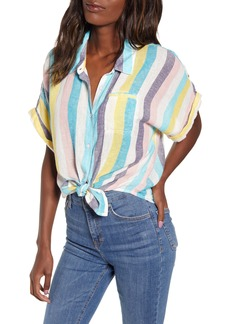 Splendid St. Barths Stripe Short Sleeve Linen Blend Blouse
