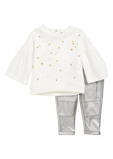 Splendid Star Embroidered Tee & Metallic Leggings Set (Baby)
