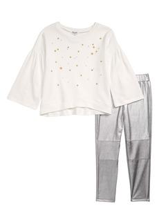 Splendid Star Embroidered Tee & Metallic Leggings Set (Toddler Girls & Little Girls)