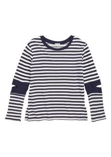Splendid Stripe Cutout Sleeve Top (Big Girls)