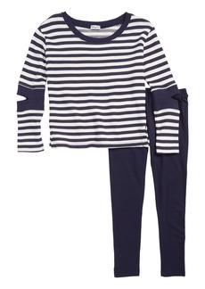 Splendid Stripe Cutout Sleeve Tunic & Leggings Set (Toddler Girls & Little Girls)