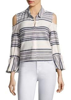 Splendid Striped Cold-Shoulder Bell-Sleeve Shirt