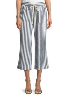 Striped Flare-Leg Cropped Pants