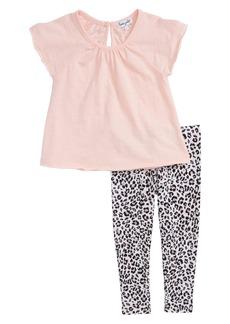 Splendid Swing Top & Floral Print Leggings Set (Toddler Girls)
