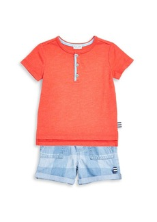 Splendid Toddlers & Little Boys Henley Tee and Checked Shorts Set