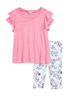 Splendid Top & Floral Leggings Set (Toddler Girls & Little Girls)