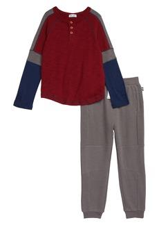 Splendid Varsity Henley & Sweatpants Set (Toddler Boys & Little Boys)