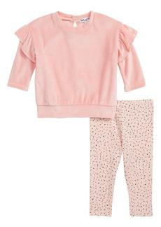 Splendid Velour Side Slit Sweatshirt & Leggings Set (Baby Girls)