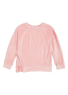 Splendid Velour Side Slit Sweatshirt (Big Girls)
