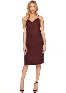 Splendid Velvet Slip Dress w/ Tuxedo Trim Sides