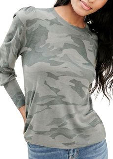 Splendid Whitney Camo Puff Sleeve Top