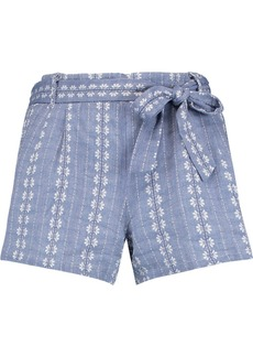 Splendid Woman Belted Cotton-jacquard Shorts Azure