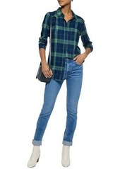 Splendid Woman Checked Flannel Shirt Cobalt Blue