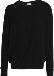 Splendid Woman Cutout Ribbed-knit Sweater Black