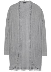 Splendid Woman Fringe-trimmed Knitted Cardigan Light Gray
