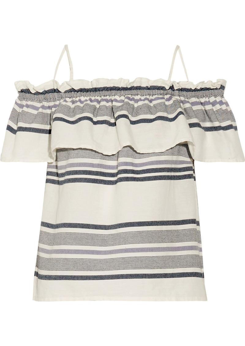 Splendid Woman Off-the-shoulder Ruffled Striped Cotton-gauze Top Ecru