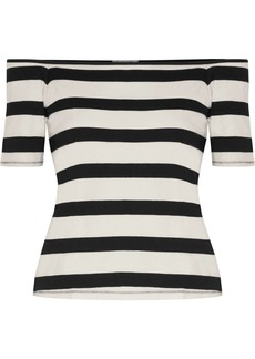 Splendid Woman Off-the-shoulder Striped Cotton-jersey Top Black