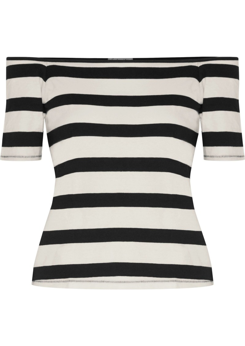 Splendid Woman Off-the-shoulder Striped Cotton-jersey Top Black