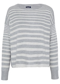 Splendid Woman Split-back Striped Knitted Sweater Light Gray