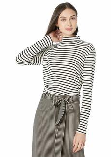 Splendid Women's 1x1 Long Sleeve Mock Neck Tee T-Shirt Off  S
