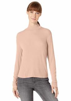 Splendid Women's 2x1 Long Sleeve Mock Neck Tee T-Shirt  L