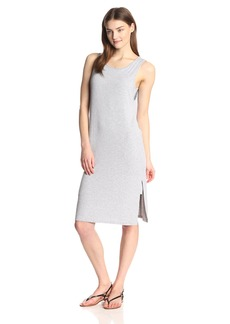 Splendid Women's 2x1 Rib Tank Midi Dress with Slit in Gray