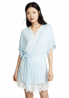 Splendid Women's Bridal Robe with Lace Pajama Coverup Pj Dreamy Blue with White XS