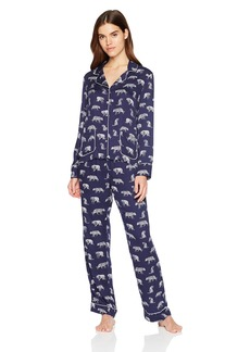 Splendid Women's Button Front Long Sleeve Top and Bottom Classic Pajama Set Pj  M