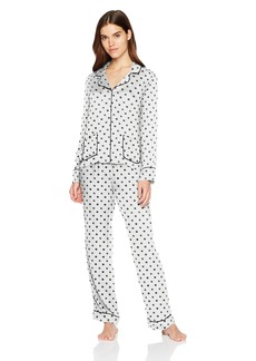 Splendid Women's Button Up Long Sleeve Top and Bottom Classic Pajama Set Pj White with Snowy Polka Dots L