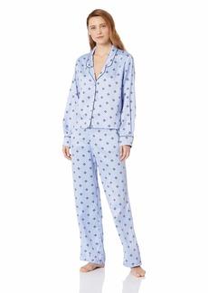 Splendid Women's Button Up Long Sleeve Top and Bottom Satin Pajama Set Pj Light Blue with geo Foulard Print