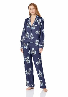 Splendid Women's Button Up Long Sleeve Top and Bottom Satin Pajama Set Pj   dark blue with blue flowers