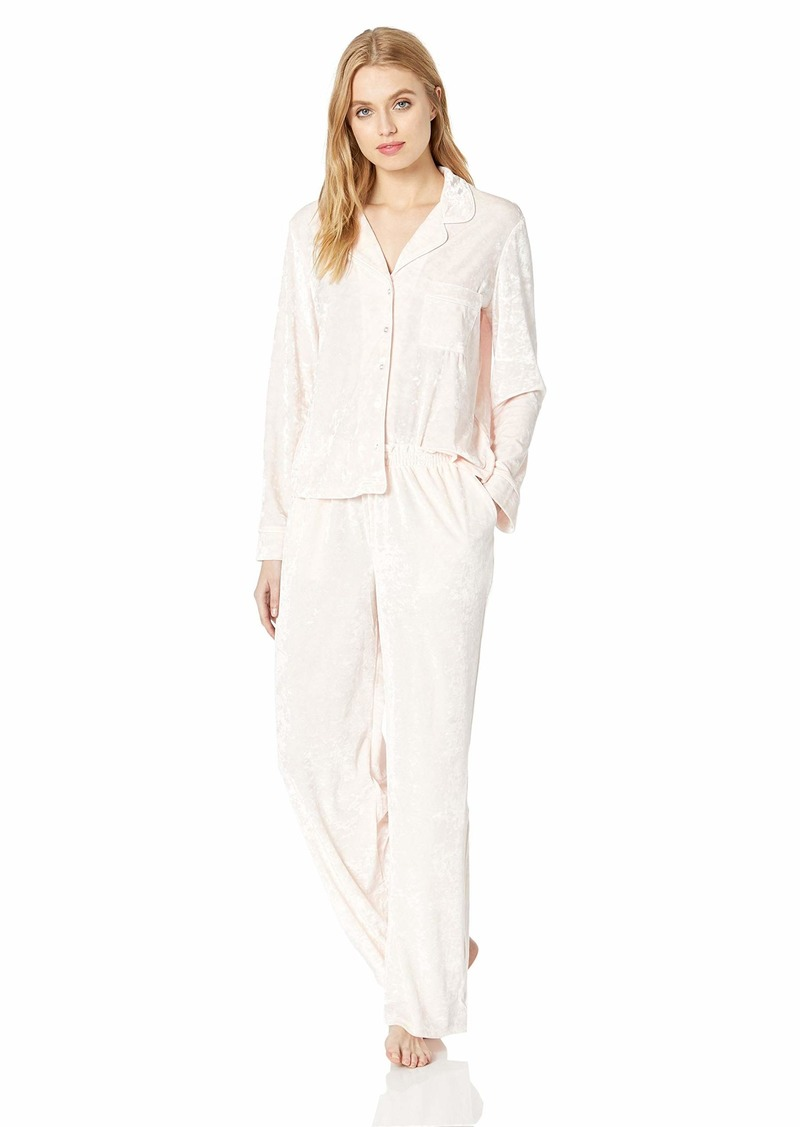 Splendid Women's Button Up Long Sleeve Top and Bottom Velvet Pajama Set Pj  L