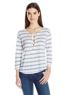 Splendid Women's Cliffbrook Lace Up Stripe Top  M