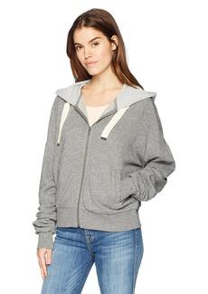 Splendid Women's Grey Shirred Zip Hoodie  S
