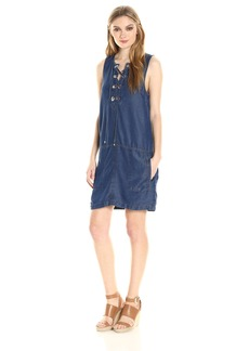 Splendid Women's Indigo Lace up Dress  XL